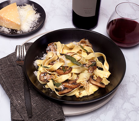 Crispy Sage with Brown Butter Mushroom Pasta