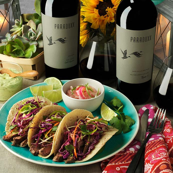 Home-cooked tacos paired with Paraduxx red blend wines