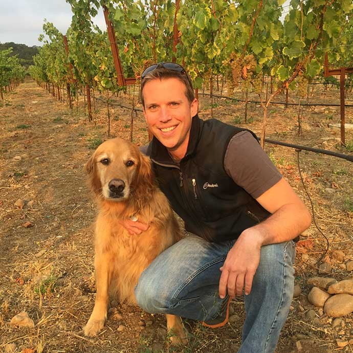 Winemaker Don LaBorde and wine dog Cooper